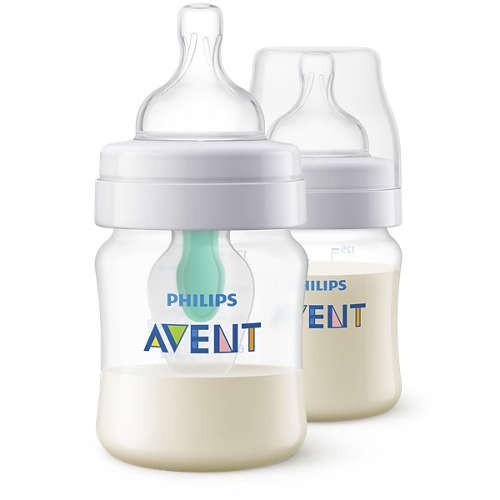 Philips Avent Anti-Kolik Flasche mit AirFree Ventil, 125 ml, 2er-Pack, transparent
