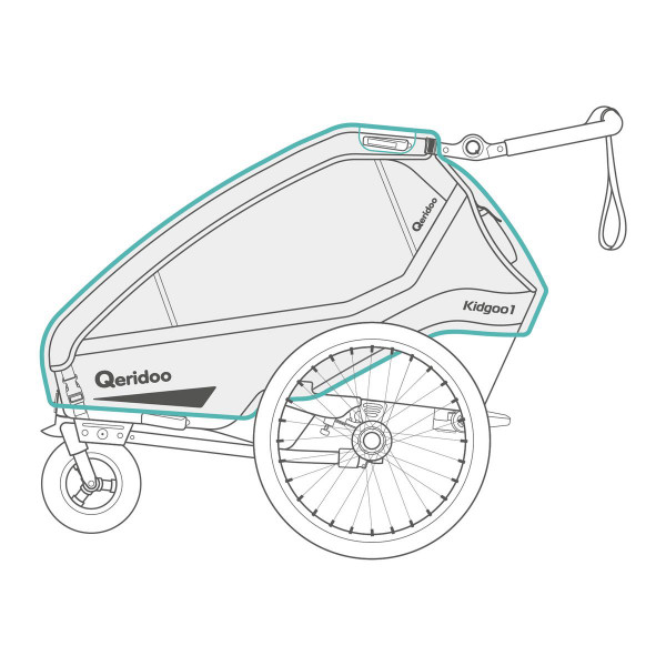 Qeridoo Regenschutz für Kidgoo Fahrradanhänger ab 2020 Modelle