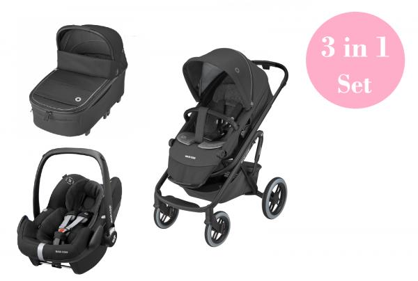 Maxi Cosi Lila XP Kinderwagen Premium Set 3 in 1 (Oria XXL Babywanne & Pebble Pro Babyschale)