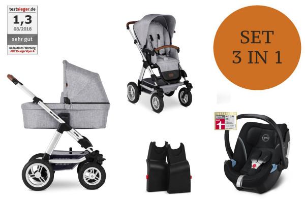 ABC Design Viper 4 Kinderwagen Set 3 in 1 inkl. Babyschale Modell 2021