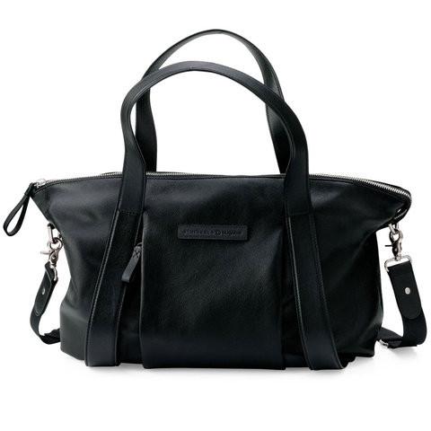 Bugaboo Storksak diaper bag black leather