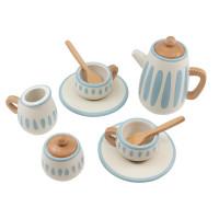 Sebra Wooden tea set, classic white/dusty teal