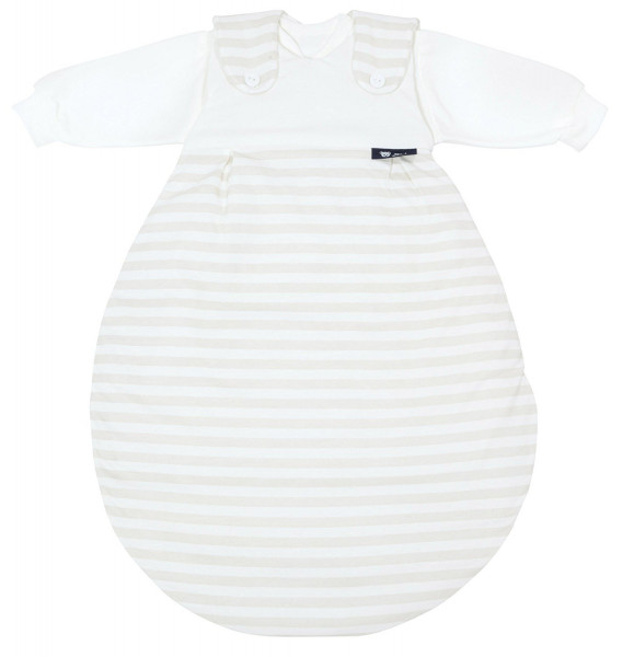 Alvi Baby-Mäxchen Schlafsack Original Blockstreifen beige 68/74